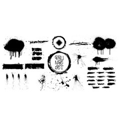set black brush strokes vector image