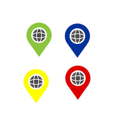 Set colorful world map pointer icon and logo vector