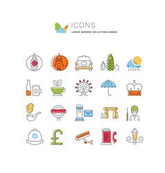 Set flat line icons london vector
