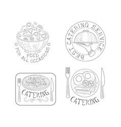 Set of 4 hand drawn emblems for catering services vector