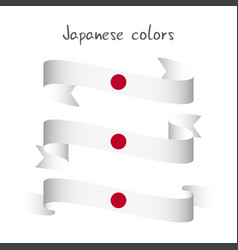 Set of three modern colored japanese ribbon vector