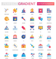 set trendy flat gradient entertainment vector image