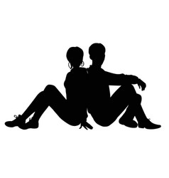 silhouette of a guy and a girl vector image