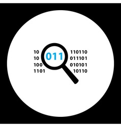simple black magnifier analyze source binary code vector image