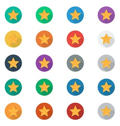 Stars icon set with long Shadow vector image