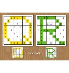 Sudoku set with answers Q R letters vector