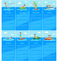Swimming and boating jet ski and banana boat vector