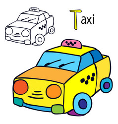 Taxi coloring book page vector