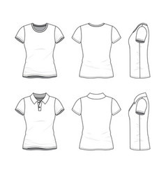 Templates female t-shirt and polo shirt vector