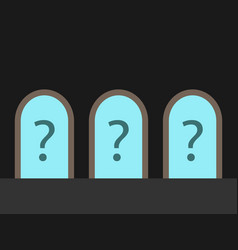 three doors question marks vector image
