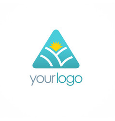 triangle nature sun logo vector image