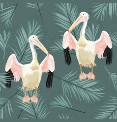 Tropical vintage palm leaves pelican floral vector
