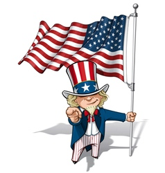 Uncle Sam I Want You American Flag vector