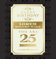 Vintage gold happy birthday typography border and vector