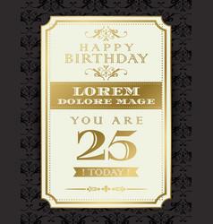 vintage gold happy birthday typography border vector image