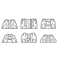 waterfall icons set outline style vector image