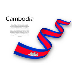 Waving ribbon or banner with flag of cambodia vector