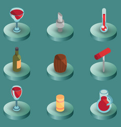 wine color isometric icons vector image