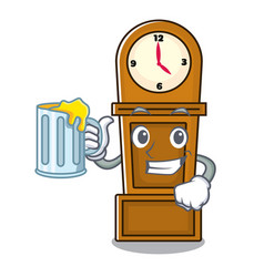With juice grandfather clock mascot cartoon vector