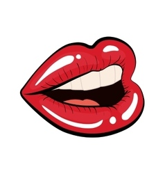 Woman lips comic style vector image