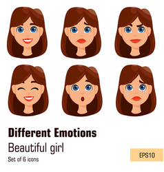 woman with different facial expressions young vector image