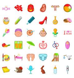 Youthful icons set cartoon style vector