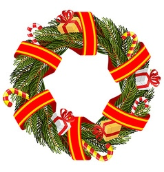 Christmas wreath of spruce branches Decoration for vector image vector image