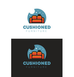 cushioned furniture logo vector image vector image
