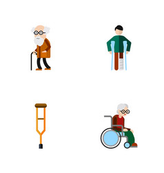flat icon handicapped set of injured ancestor vector image vector image