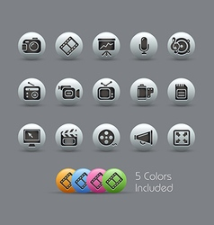 Multimedia Icons Pearly Series vector image vector image