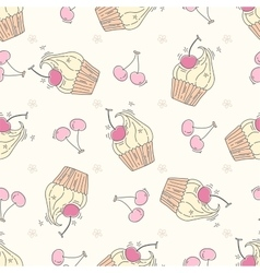 Seamless pattern with cupcakes and berries vector image