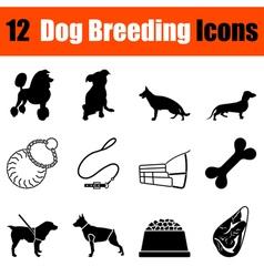 Set of dog breeding icons vector image