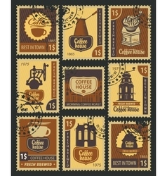 stamps on coffee vector image vector image