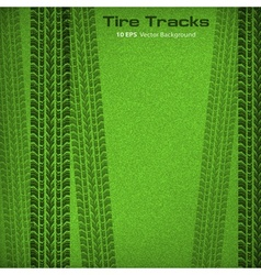Tire tracks on green vector image vector image