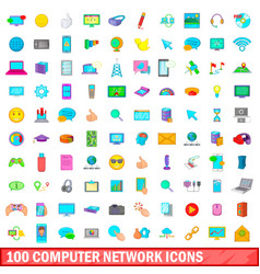 100 computer network icons set cartoon style vector image vector image