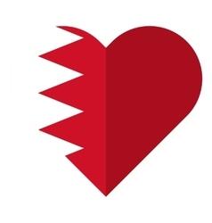 Bahrain flat heart flag vector image vector image