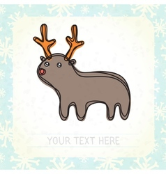 Cute deer and snowflakes vector image vector image