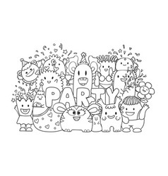 cute monster in party vector image