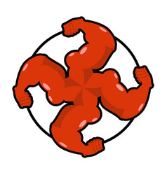 Logo for aggressive fighters hands bodybuilder vector
