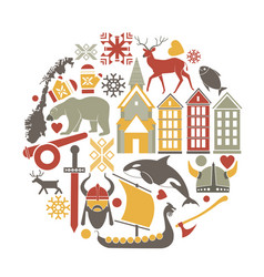 norway travel sightseeing icons and vector image vector image