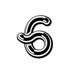 Number 6 celtic font norse medieval ornament abc vector