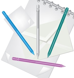 pencil envelope and notebook vector image