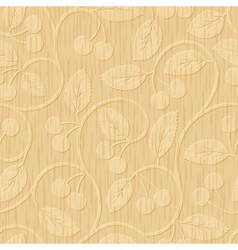 seamless cherry wood carved floral ornament vector image vector image