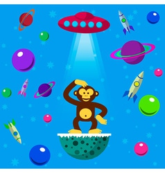 Seamless pattern with space monkey vector image
