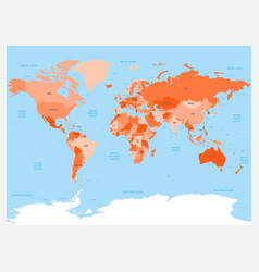 world map atlas red colored political map with vector image