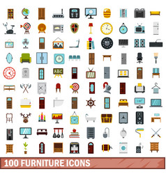 100 furniture icons set flat style vector image vector image