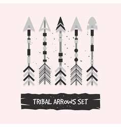 Abstract gray tribal arrows set on pink background vector image