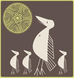 amusing stylized birdies vector image vector image