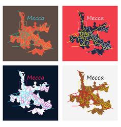 Set of mecca map saudi arabia flat vector