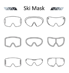 Ski goggles outline set icon vector